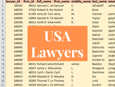 provide 200K USA Lawyers Email List