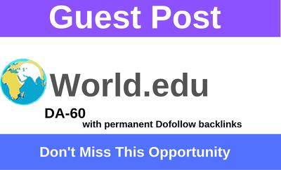 Publish a guest post on world.edu DA-60 with Dofollow link
