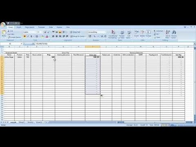 Create an exel spread sheet with the formulas