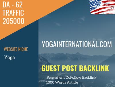 USA Yoga Related 205000 Traffic 62 DA Guest post link