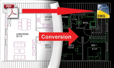 Convert pdf, jpg to cad dwg or dxf file