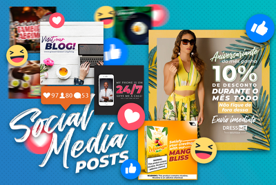 Design 5 posts for your business' social media accounts
