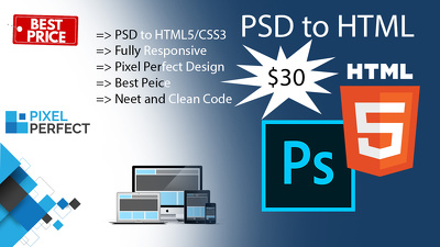 Convart your PSD to responsive HTML/CSS (for landing page)