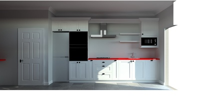 design a 3D kitchen rendering and floor layout