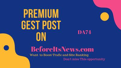Publish a guest post on BeforeItsNews.com – DA82