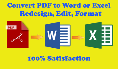 Do PDF Conversion To Word Or Excel for 1 hour