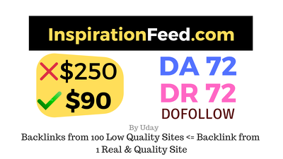 Publish a guest post on InspirationFeed.com DA72, DR72