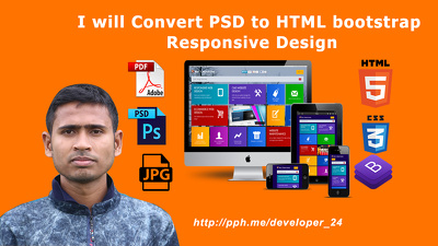 Convert PSD To HTML Bootstrap Responsive Within 8 Hours