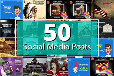 Create 50 Awesome Social Media Posts Designs