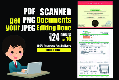 Edit Pdf, Jpeg, Png, Scanned Documents within 24 hours