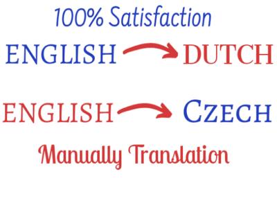 Translate English to Dutch and English to Czech