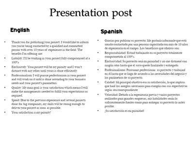 Translate your document from English or Portuguese to Spanish