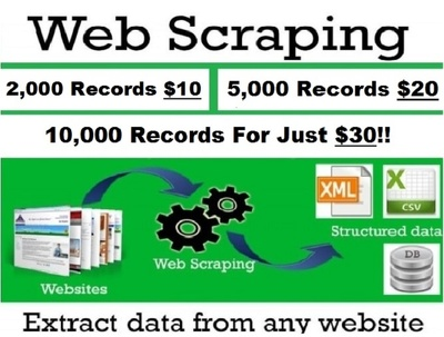 web Scraping, Data Extraction. High Quality & Low cost & Fast