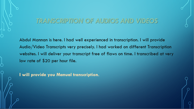 Transcribe 1 hour audios / videos transcription