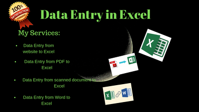 Do 2 hours data entry in excel and deliver in 1 day