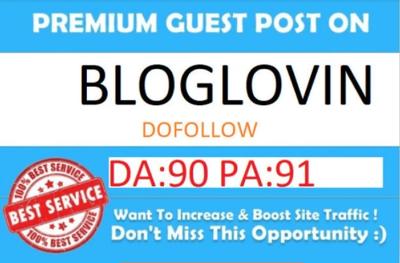 Publish Guest Post on Bloglovin.com DA- 90 Dofollow Backlink