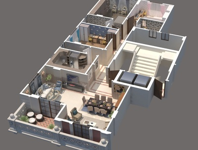 Create 3 Rendered 3D floor plan Image from your 2D plan