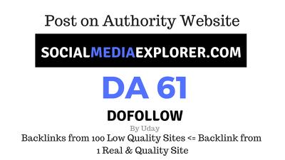 Publish a guest post on SocialMediaExplorer.com DA61