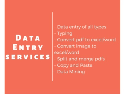 Do all types of Data Entry job for 2 hours