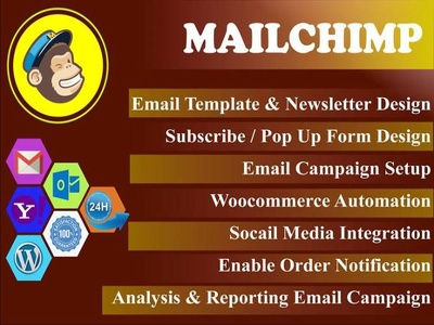 Design Mailchimp Email Template, Newsletter,any MailChimp Work