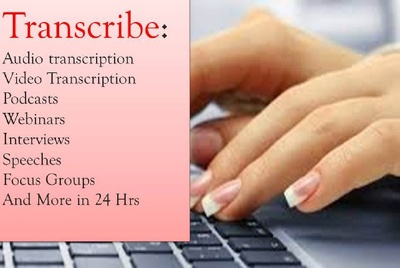 Transcribe 30 min Audio Or Video Transcription To Text in 12 hrs