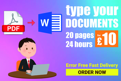 Type 20 pages pdf, image to word, 24h data entry typing work
