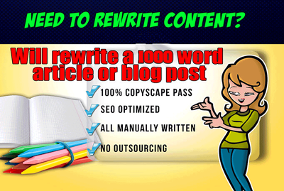 Manually Rewrite 1000 Words Of Any Kind Of Article Or Blog