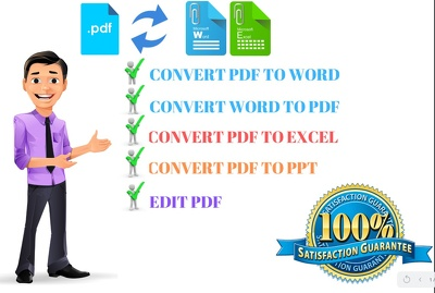 Convert PDF To Word Or Excel Within 24 Hours