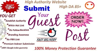 Do Guest Post  High Authority DA 85+ Website With Dofollow link