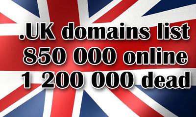 Domains list 820000 online .UK domains