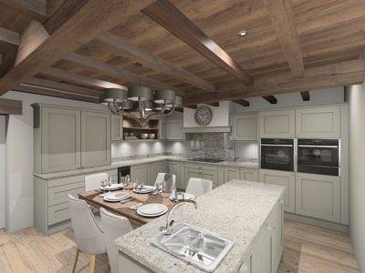 Produce 3D visuals of your designed kitchen