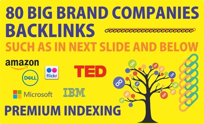 Give you 80 Big Brand Companies unique HQ powerful  Backlinks