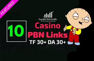 10 Casino / Poker PBN Backlinks on High Authority Sites