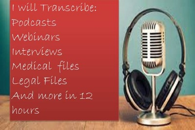 Transcribe 30 minutes Audio/video podcast Transcription in 12 hr