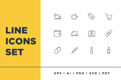 Custom line icons set under 24 hours with svg , png files
