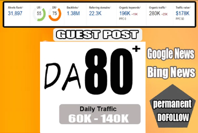 Guest post on da 80 google news Approved blog with dofollow link