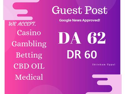 I Will Publish Guest Post On Da 62 DR 60 Blog