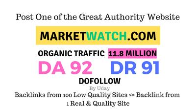 publish a guest post on  Marketwatch.com DA92, PA72