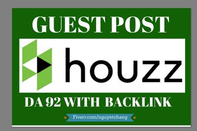 Publish a guest post Houzz.com DA-92 Dofollow Backlink