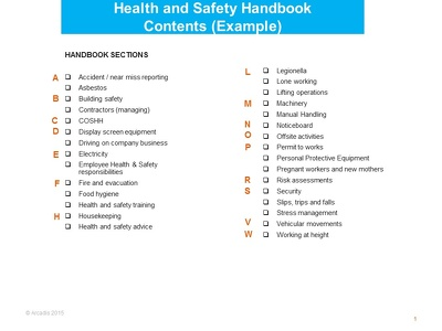 Prepare a Health and Safety Handbook for your business