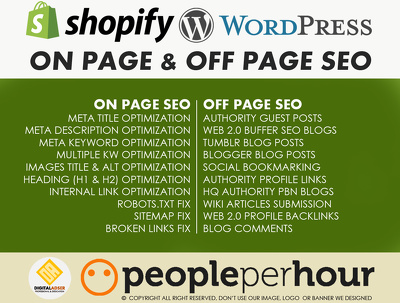 Complete On page & off Page wordpress or Shopify SEO Package