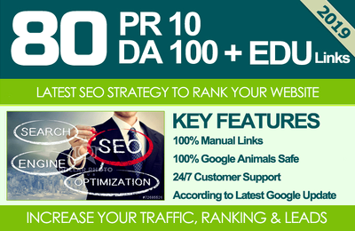 80 Unique PR10 SEO BackIinks on DA100 sites Plus Edu Links