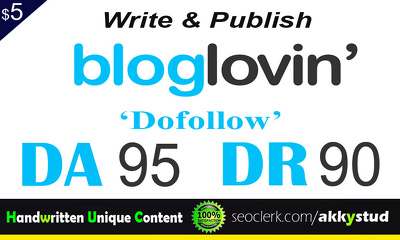 Limited Cheap Offer - Write and Publish on Bloglovin Dofollow