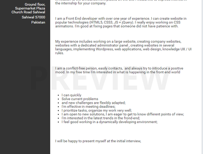Write a professional resume/cv or cover letter for you