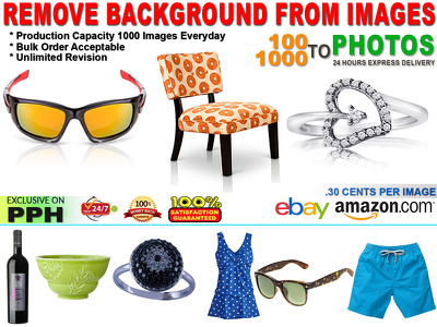 Photoshop clipping path/Cut Out background upto 100 photos with
