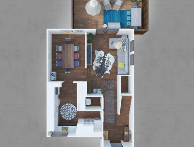 convert your 2DFloor plan into 3D Floor plan with full furniture