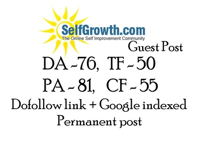 Publish high quality dofollow backink guest post Self Growth
