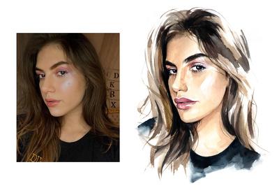 Draw a realistic fashion portrait