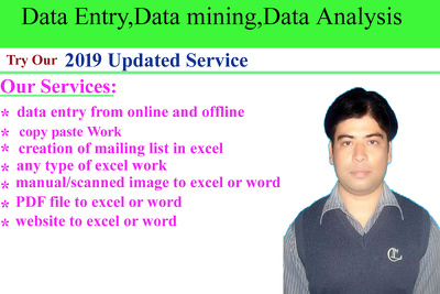 Do all type of data entry for two hours