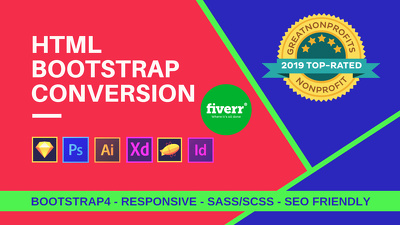 Convert Sketch, Xd, Psd To Html Responsive Bootstrap 4